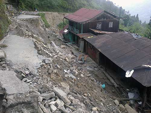 Colossal damage due to landsliding at Rimbick in Darjeeling, Himalayas.