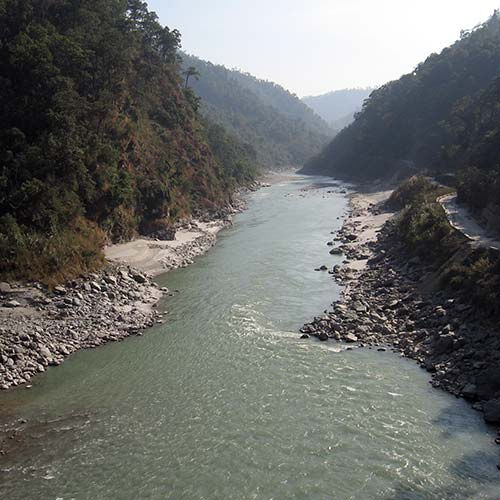 Tista river viewed from downstream at Tistabazar